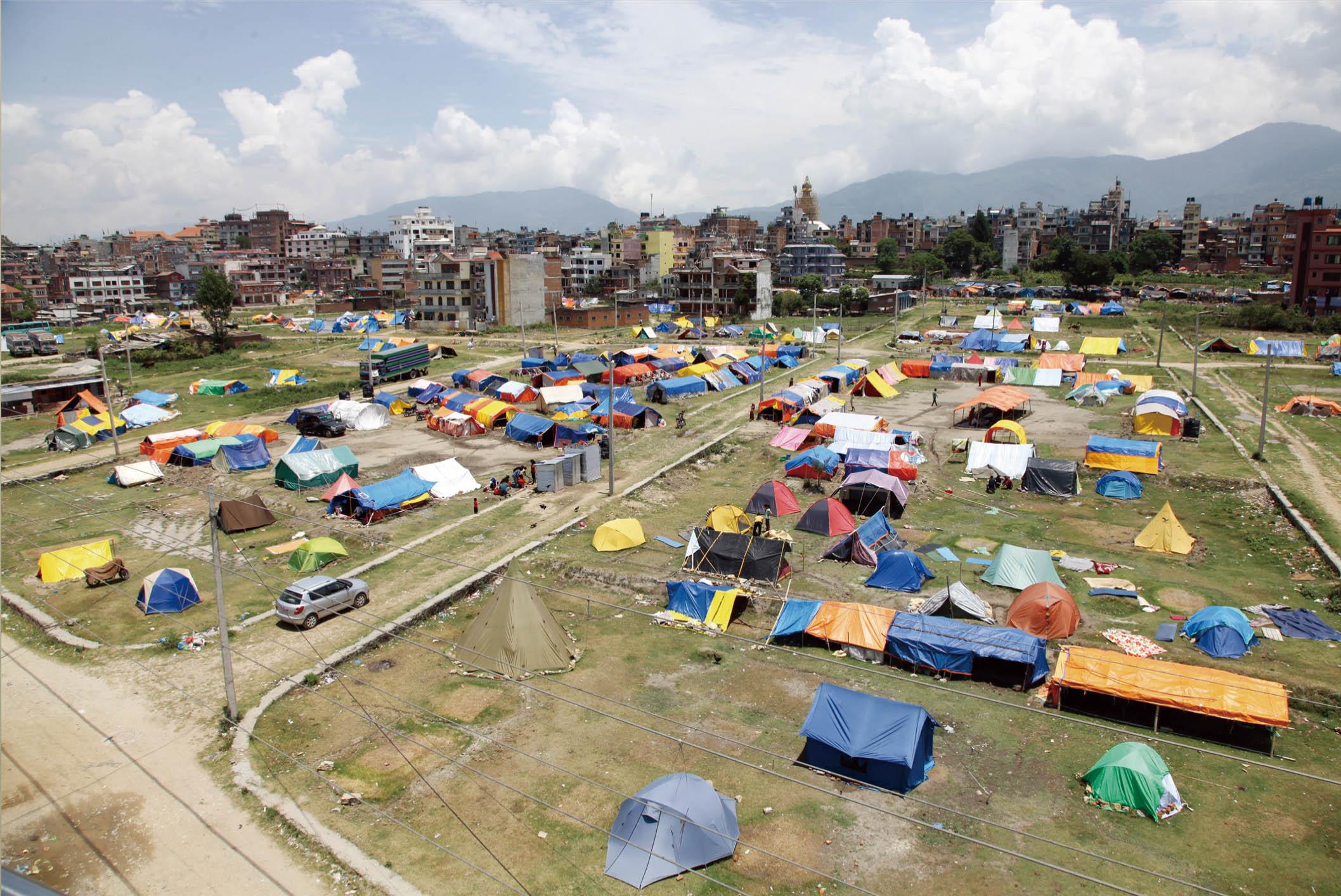 首都カトマンズのボーダにおけるシェルパ族の難民キャンプ